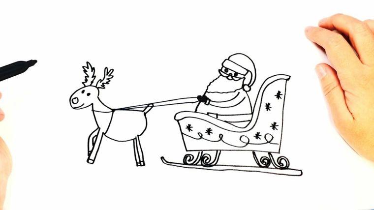 Babbo Natale Con La Slitta Disegno Di Una Renna Che Tira La