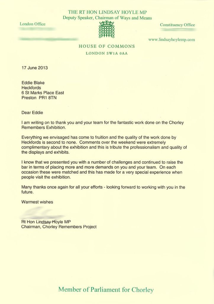 Thank You Letter We Received From Lindsay Hoyle Mp Thanking Us For