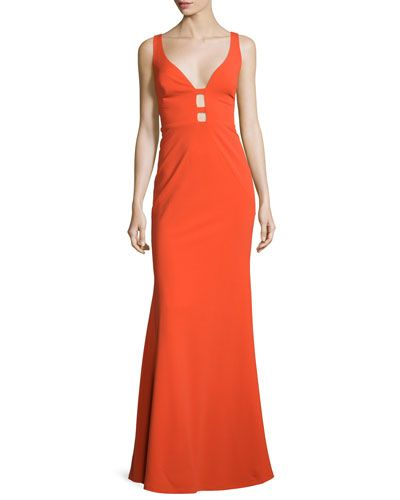 186cbabe0da66 Sleeveless Column Gown W/Cutouts Bright Orange | *Neiman Marcus ...