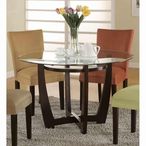 Bloomfield Round Cross Dining Table | Glass dining table ...