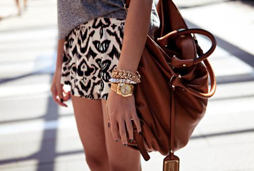 Cognac purse and bracelets
