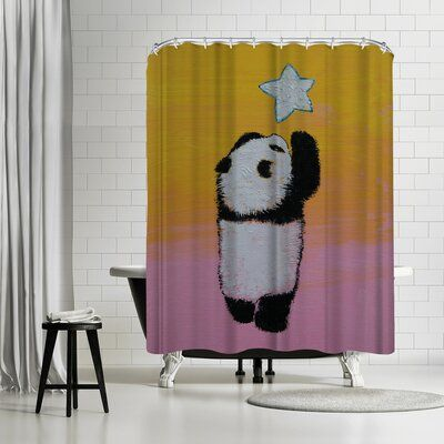 East Urban Home Michael Creese Baby Panda Star Single Shower Curtain #babypandas