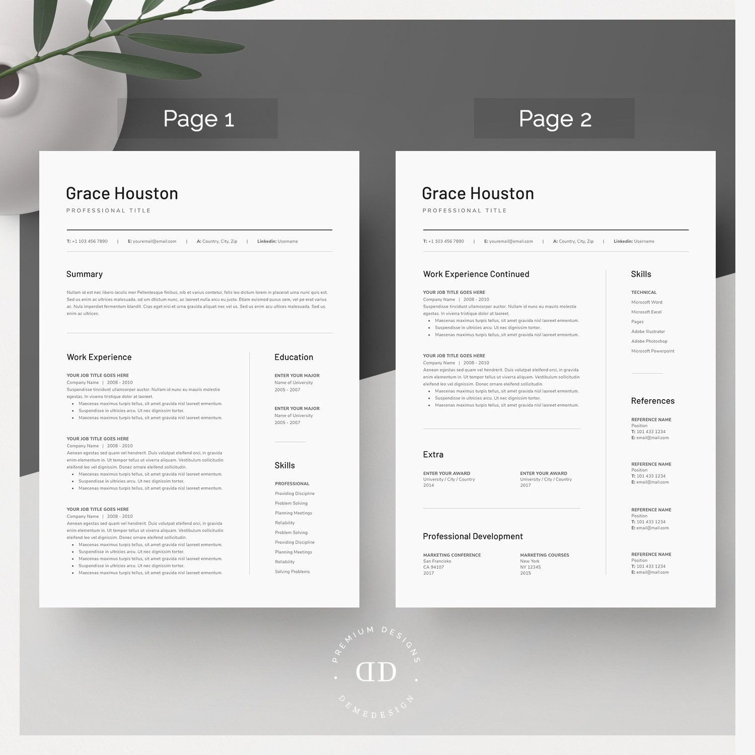 Word Resume & Cover Letter Template by DemeDesign on