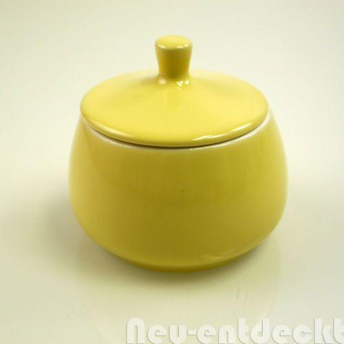 Melitta-Minden-Zuckerdose-vintage-Porzellan-Steinzeug-helles-gelb-NEU-50er-1339