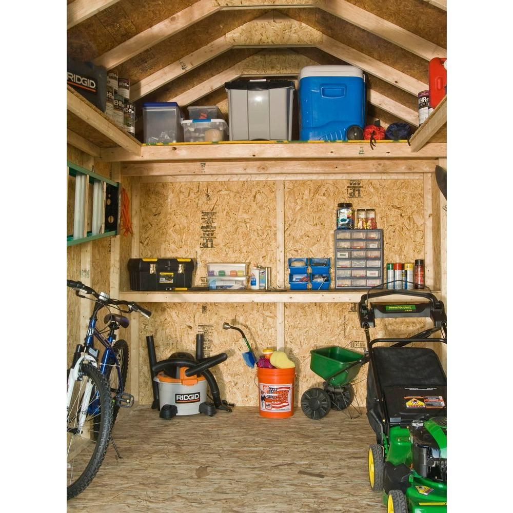 Handy Home Products Installed Majestic 8 Ft. X 12 Ft. Wood Storage Shed  With Autumn Brown   The Home Depot