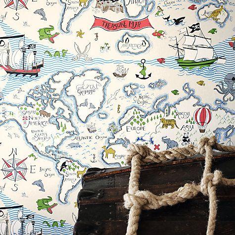Sanderson treasure map wallpaper buy sanderson treasure map wallpaper online at johnlewis gumiabroncs Image collections