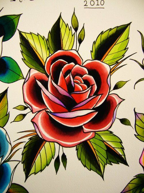 Traditional Rose Tattoo : traditional, tattoo, School, Traditional, Tattoos,, Rose,, Flower, Drawing