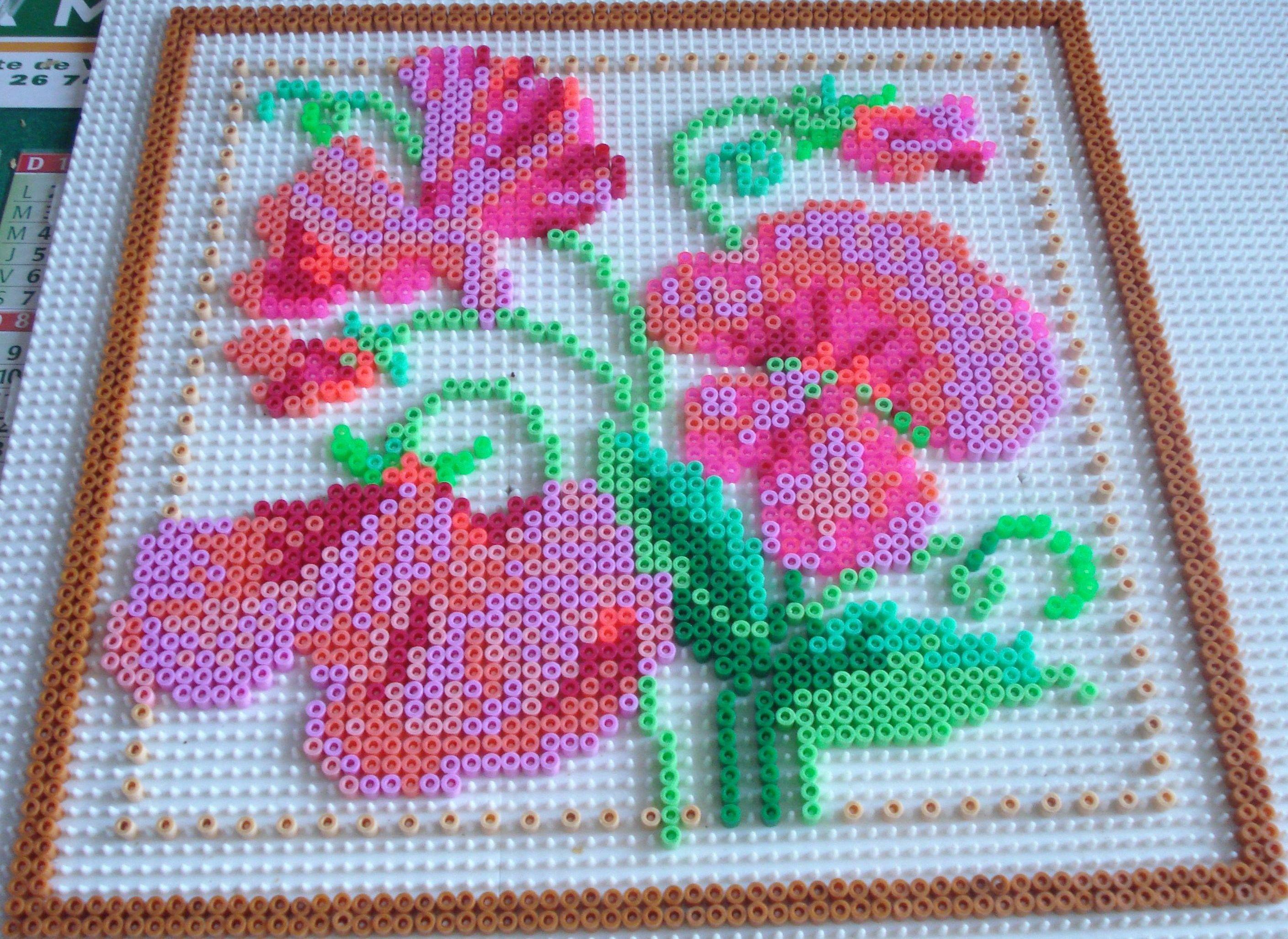 flowers hama perler beads by chantal jacquinet b gelperlen. Black Bedroom Furniture Sets. Home Design Ideas