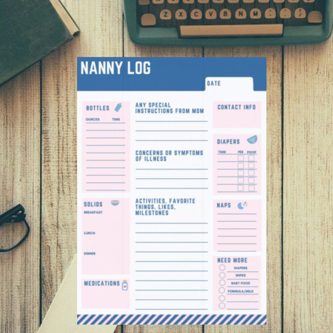 Printable Babysitter Nanny Daily Log For Use With Infants