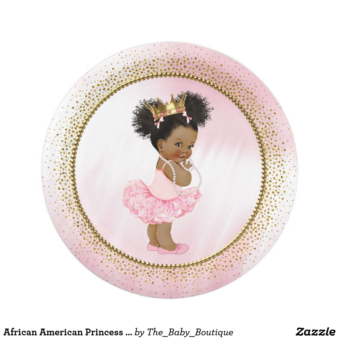 African American Princess Baby Shower Paper Plates Baby Shower
