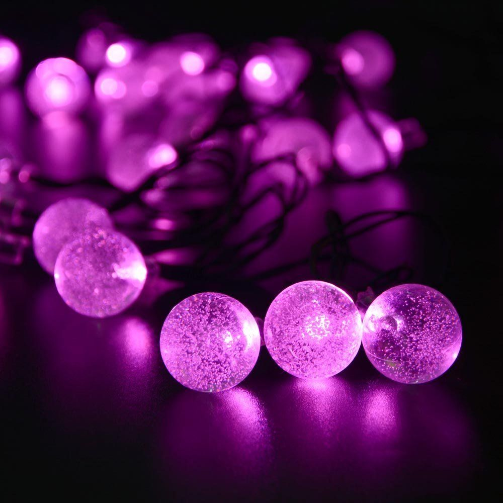 Pink String Lights Solar Outdoor String Lights Pink Crystal Ball Solar Powered Globe