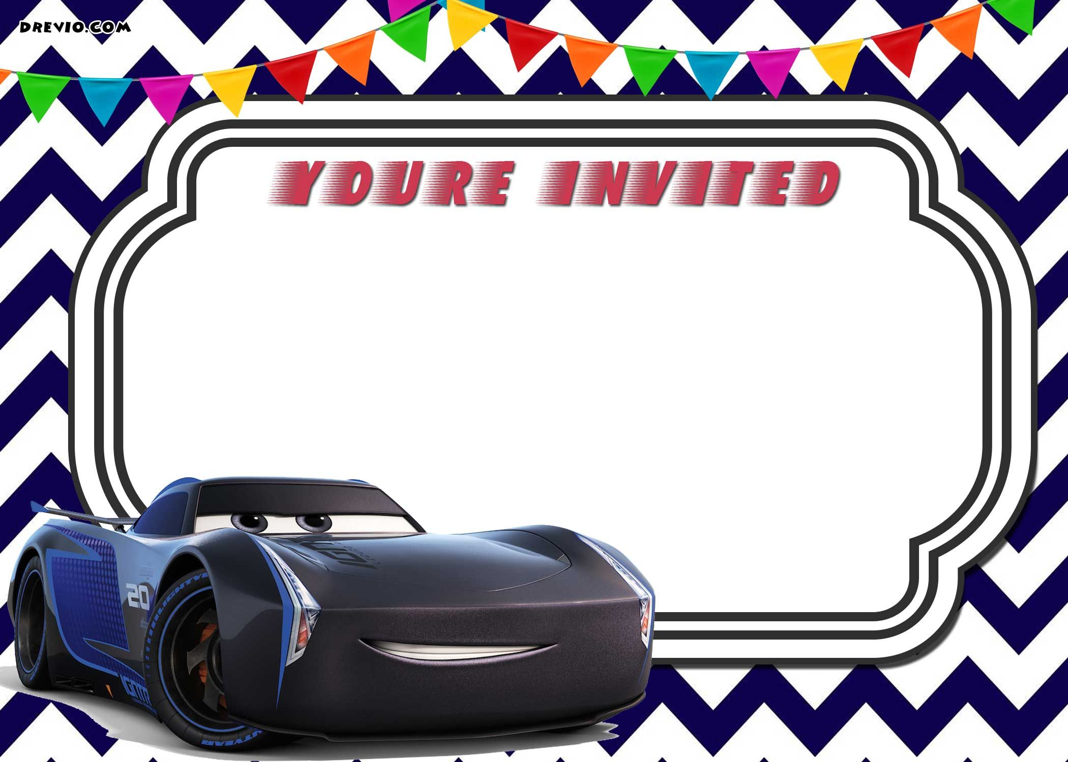 Download FREE Printable Cars 3 Lightning McQueen Invitation Template