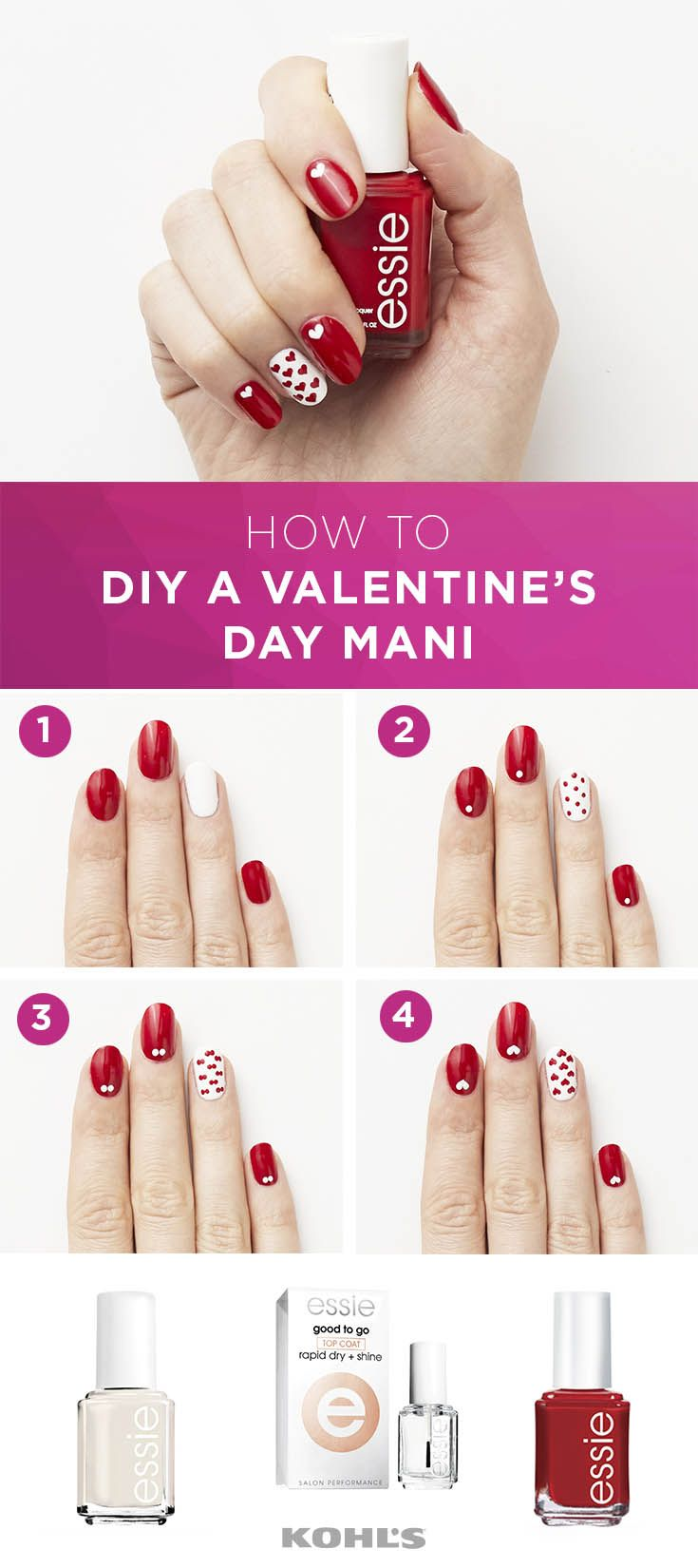 Step 1: Apply two coats of an essie polish in red like Forever Yummy ...