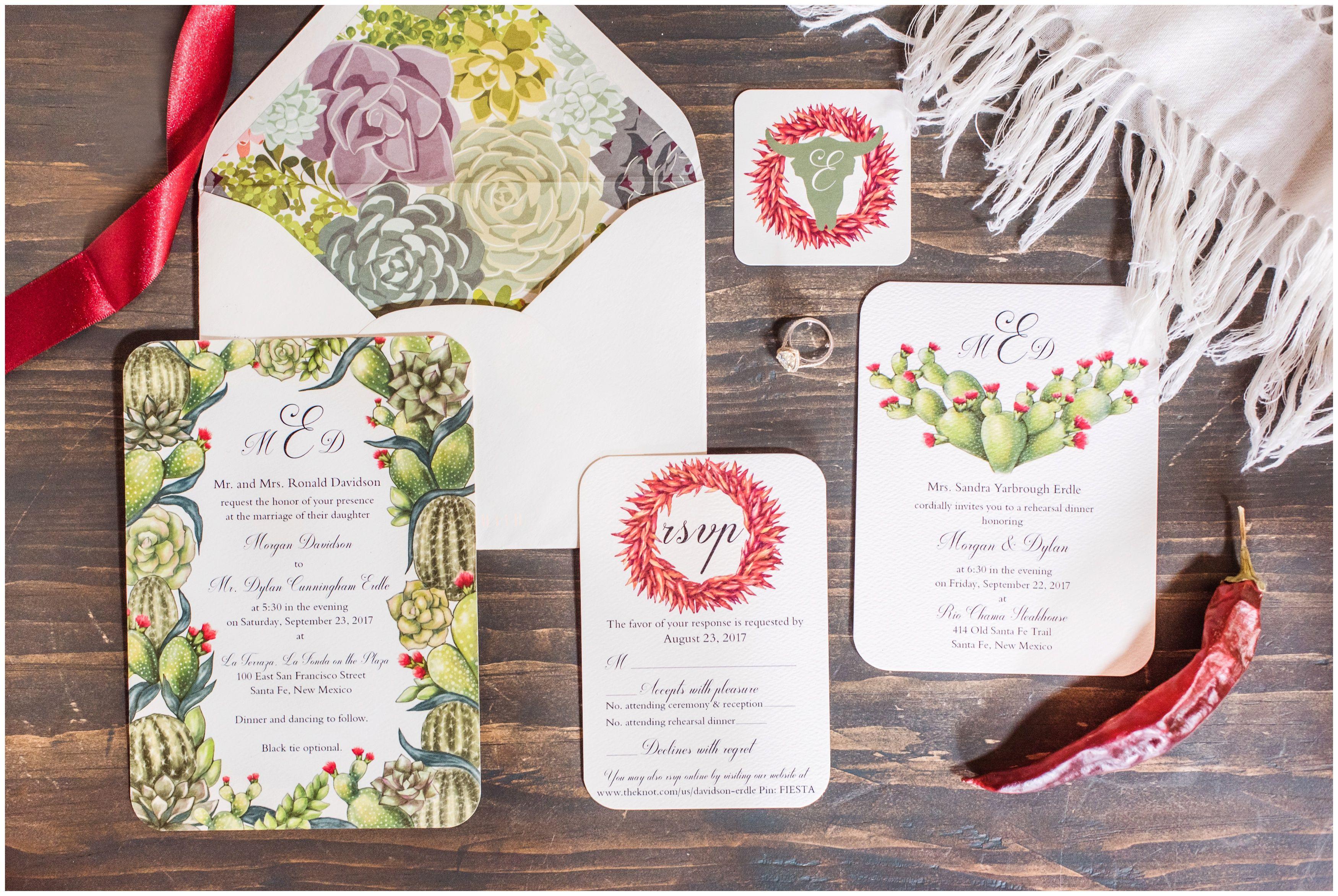 Southwestern Inspired Wedding Succulents Wedding Invitations
