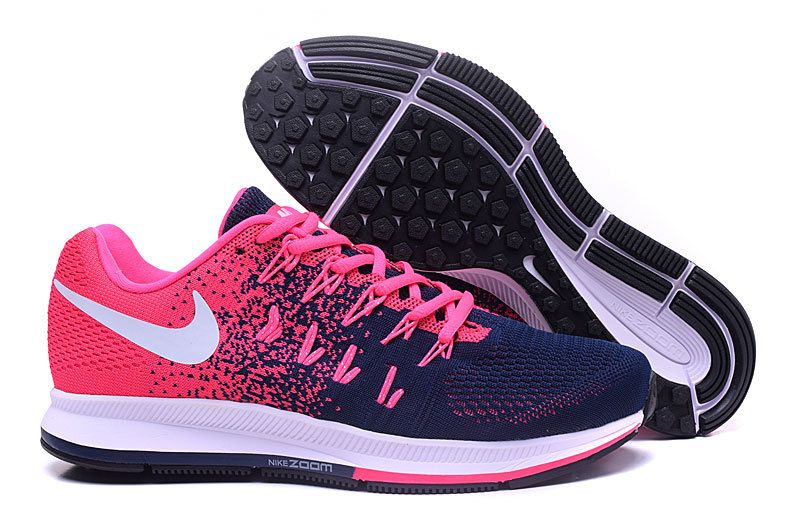 Nike Air Zoom Pegasus 33 pink white dark blue shoes Womens ...