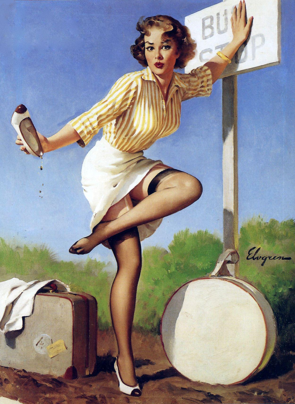 Днем, пин ап открытка 1960