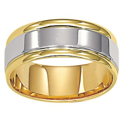 mens comfort fit wedding band in two tone gold view all rings zales - Zales Mens Wedding Rings