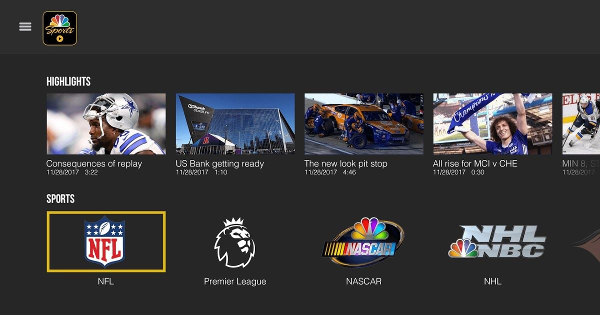 NBC has brought its sports app to PlayStation 4 which is