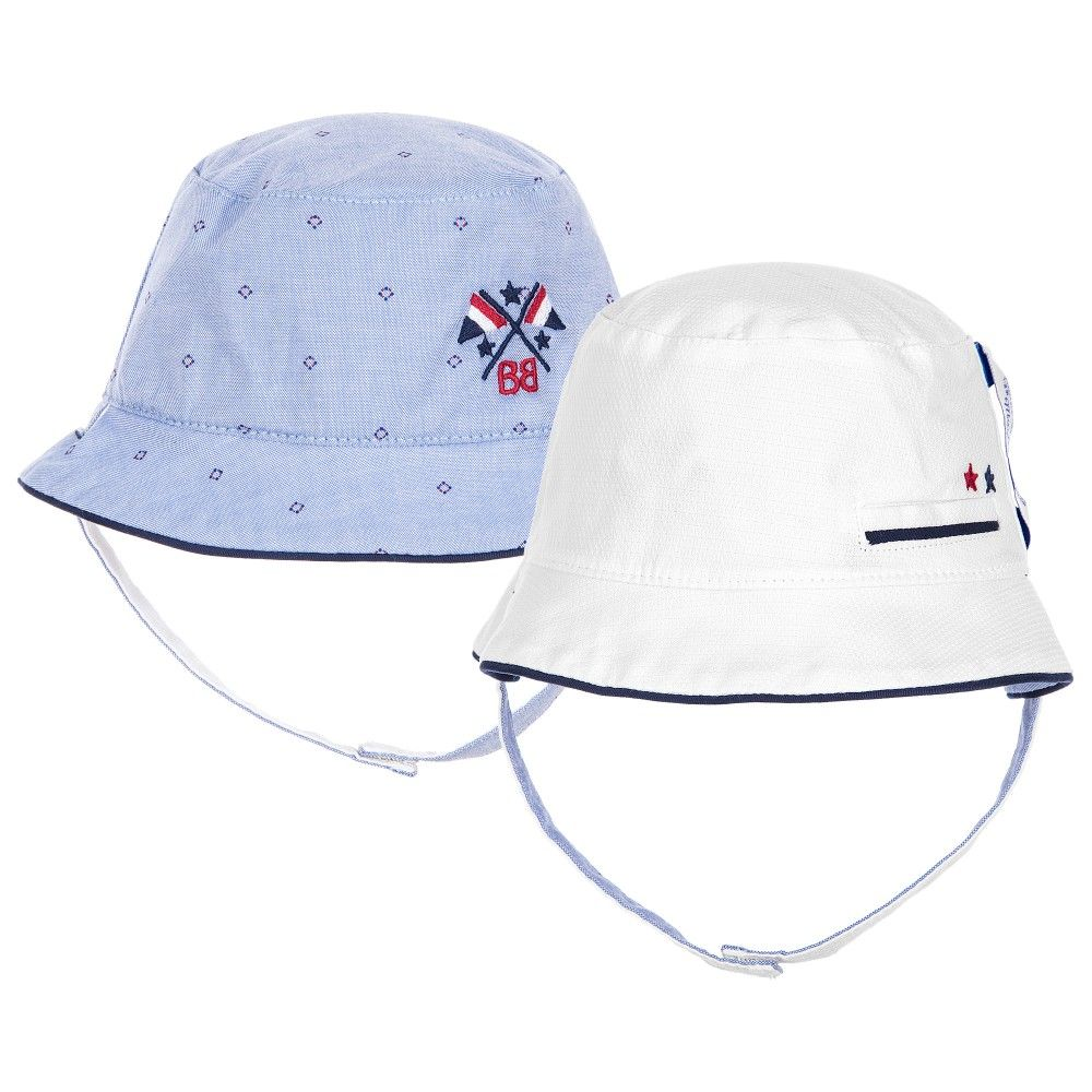 f6c7f881ff6 Mayoral Baby Boys Blue   White Reversible Hat at Childrensalon.com ...