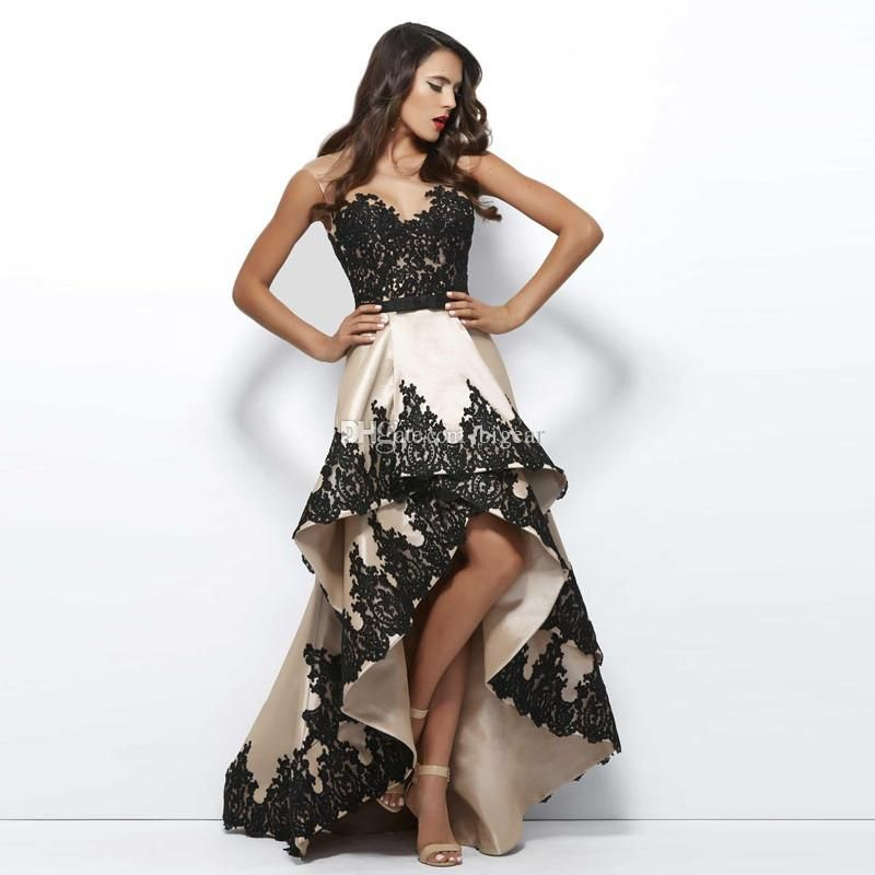 629f0fa194 Taffeta High Low Prom Dress With Black Appliques Prom Stores Sequin Prom  Dresses From Bigear