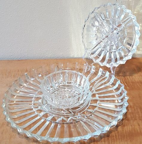 Clear Glass Divided Relish Tray Platter Dish Vegi And Dip Bowl With Small Side Relish Tray 3 Pc Set Clear Pressed Gla Relish Trays Indiana Glass Vintage Dishes
