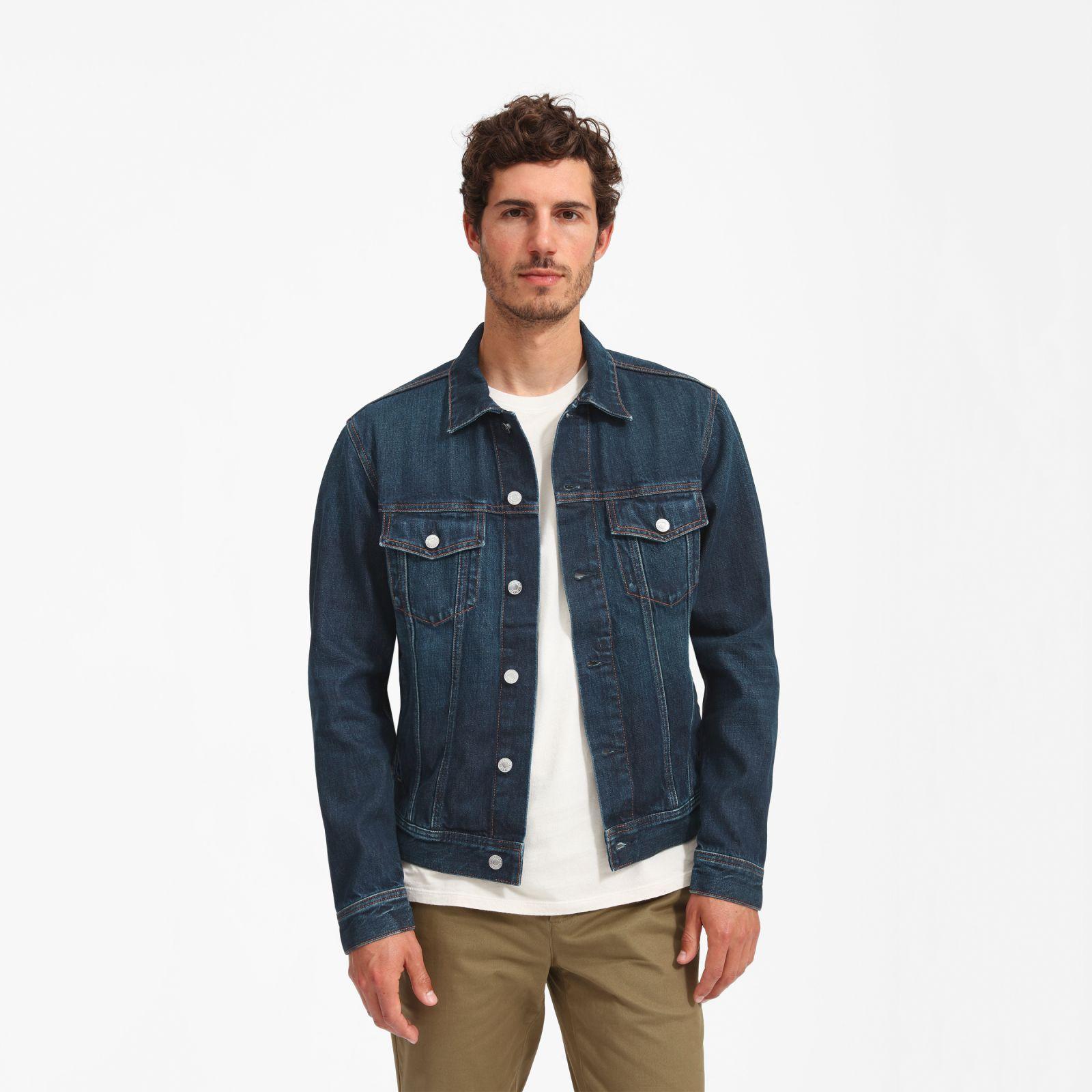 Men S Denim Jacket By Everlane In Vintage Dark Blue Wash Dark Blue Denim Jacket Blue Denim Jacket Outfit Denim Jacket Men Outfit [ 1600 x 1600 Pixel ]