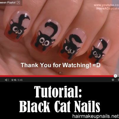 black cat nail art tutorial arte para las uas de gato negro