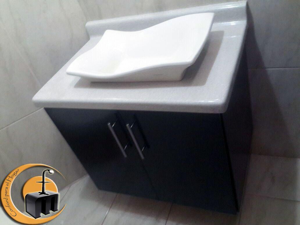 Mueble para ba o estilo suspendido melamina con puertas for Muebles con mdf melamina