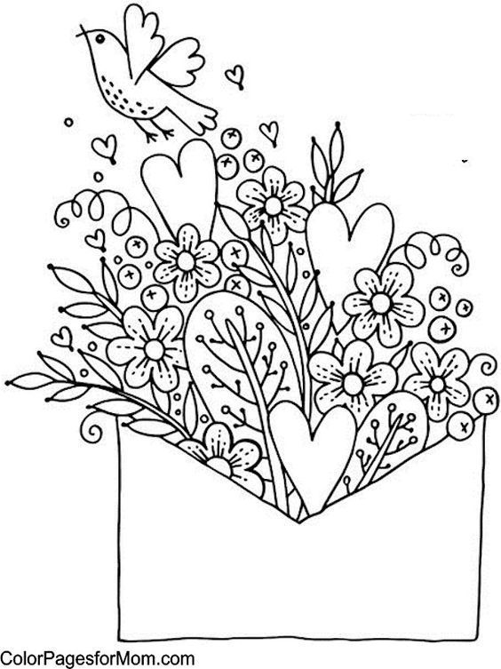 hearts and flowers coloring pages for kids | Simple, beautiful coloring page for mindfulness | # ...