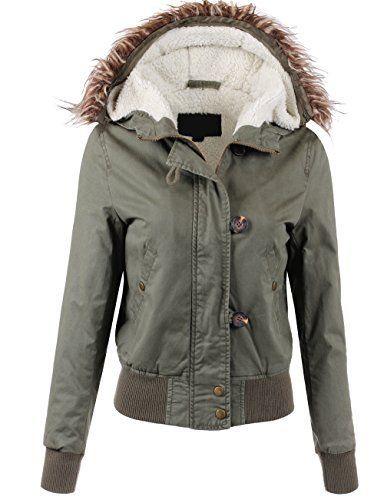 7709f136bfa Women s olive sherpa jacket w  faux fur lined hood Hooded Bomber Jacket