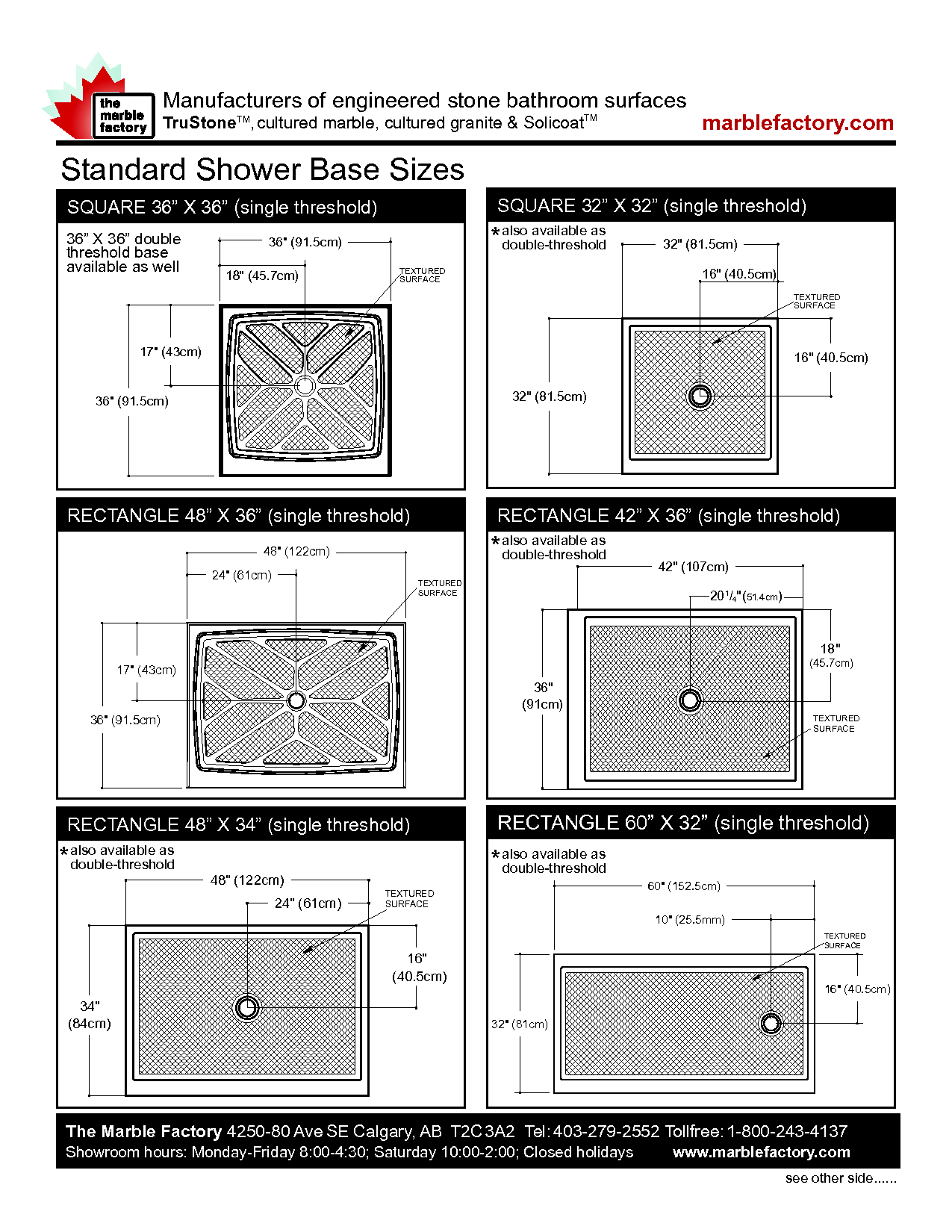 Superieur Standard Shower Base Sizes