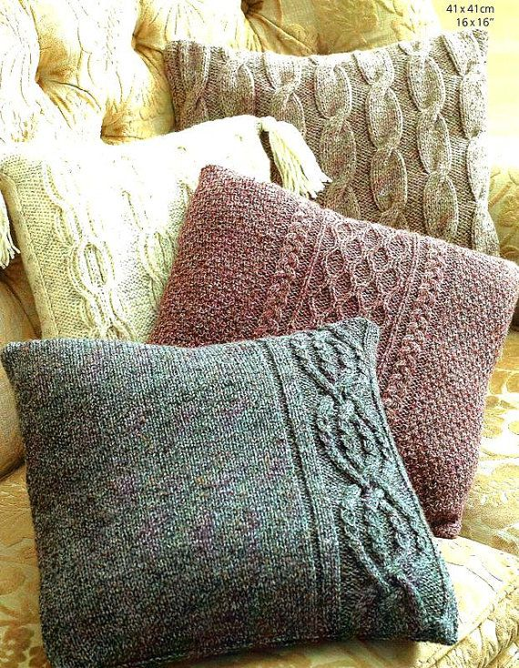 Pdf Knitting Pattern For Aran Cabled Cushions In 4 Styles Instant