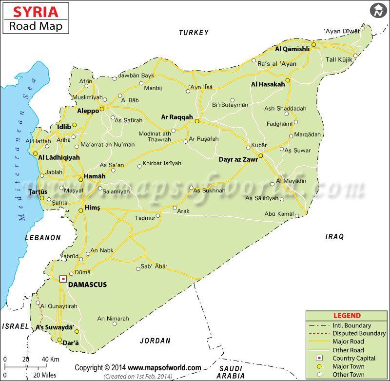 Syria Road Map Syria Pinterest Syria Capital City And City - Qamishli map