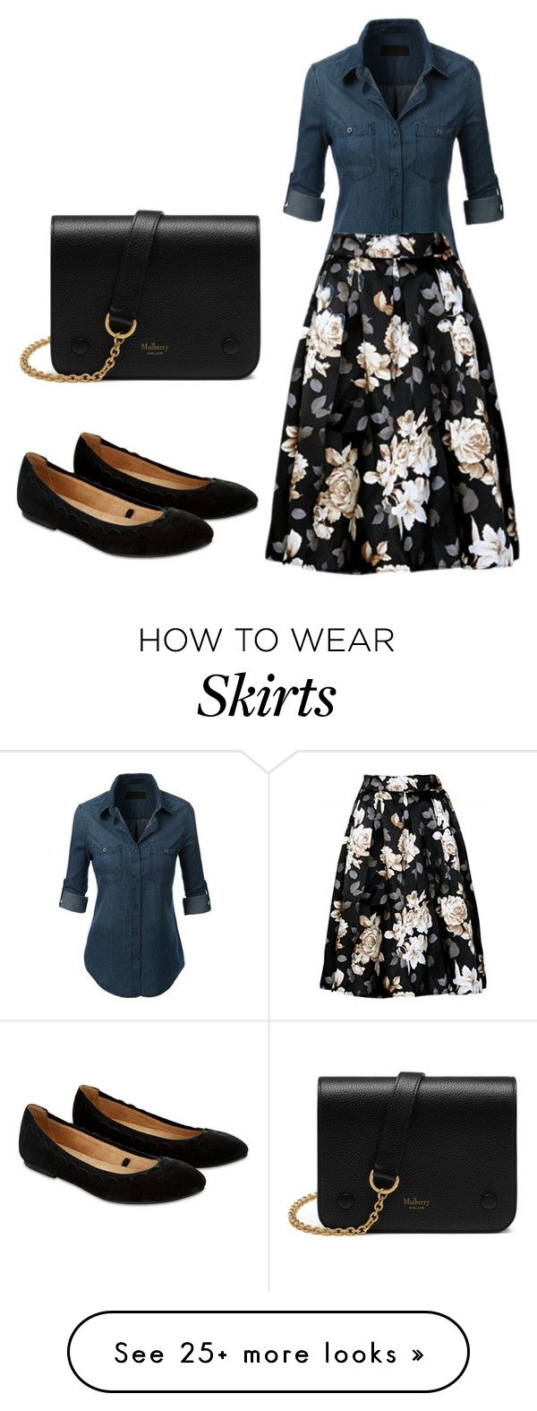 Full skirts by aura-iordan on Polyvore featuring Accessorize and Mulberry #fullskirtoutfit