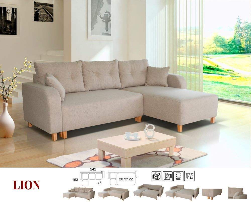 Ebay Leic Sofa Bed In Fabric With Storage Grey Beige Sofa Bed With Storage Fabric Sofa Bed L Shaped Sofa