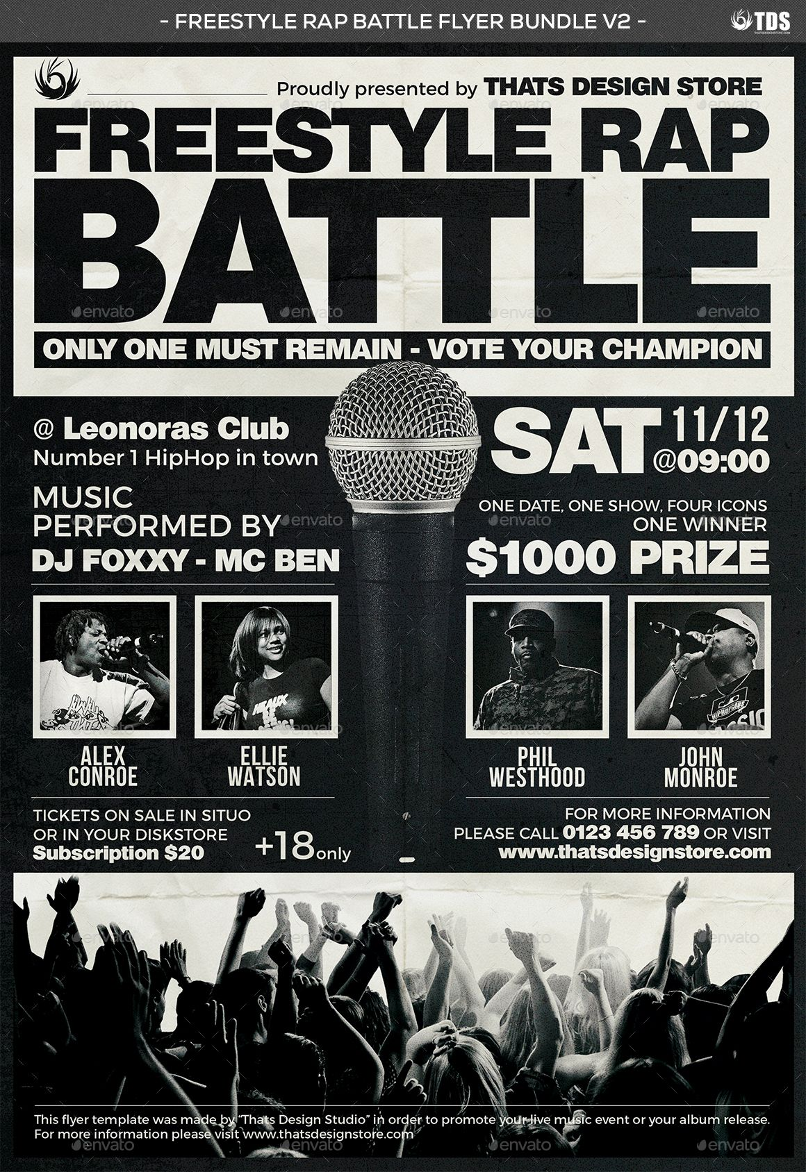 Carte De Visite Freestyle Rap Battle Flyer Bundle V2
