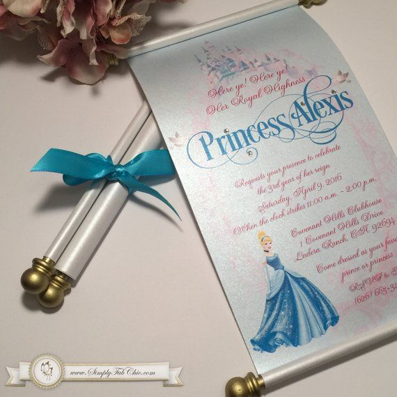 Cinderella Royal Princess Birthday Scroll Fairytale Invitation In