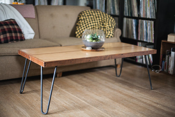 Charmant Reclaimed Door Coffee Table On Metal Hairpin Legs