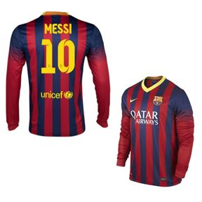 cheap for discount c38a3 fce2d Nike Barcelona Messi #10 Long Sleeve Soccer Jersey (Home ...