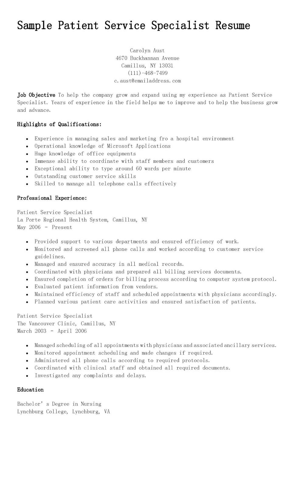 Sample Patient Service Specialist Resume