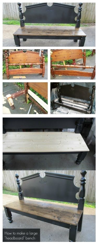 How To Make A Pretty Headboard Bench   DIY Projects   Pinterest ...
