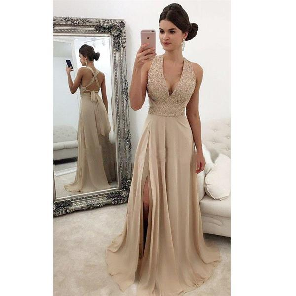 Beaded Flowers Appliqued Nude Satin Tulle Prom Gown - Promfy