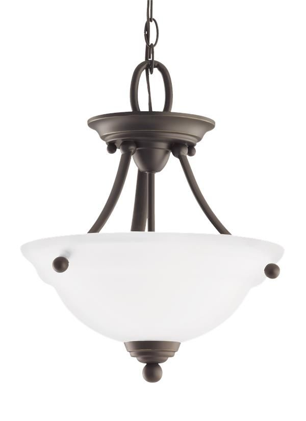 Seagull lighting two light semi flush convertible pendant