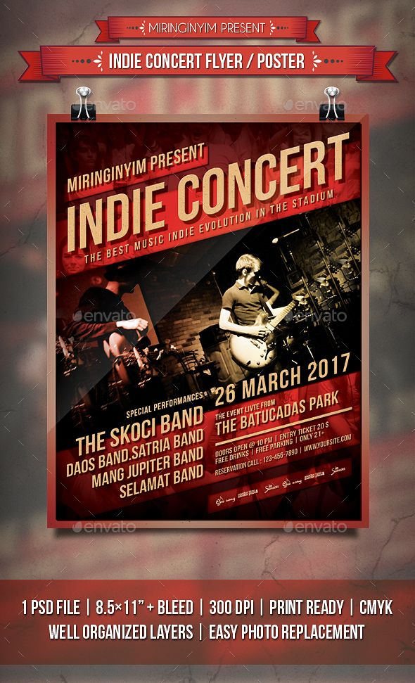 Indie Concert Flyer  Poster  Concert Flyer Template And Flyer