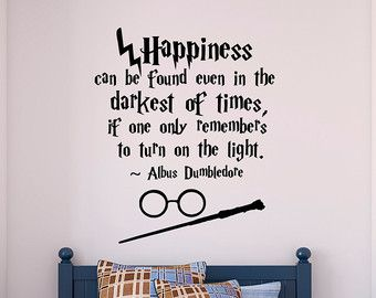 Harry Potter Wall Decal Quote Happiness Can Be Found Even  Hogwarts Wall  Decal Harry Potter Vinyl Sticker Nursery Teens Room Kids Decor Q054