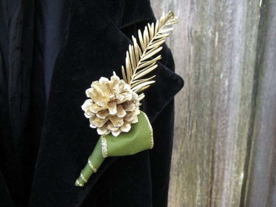 Marvelous Gold U0026 Green Wedding Boutonniere   Natural Lapel Pin With Scotch Pine Cone  And Redwood.
