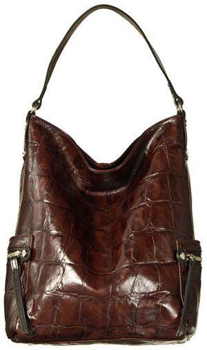 Tano Leather Bag Check W Zippered Pockets Croco Burgundy