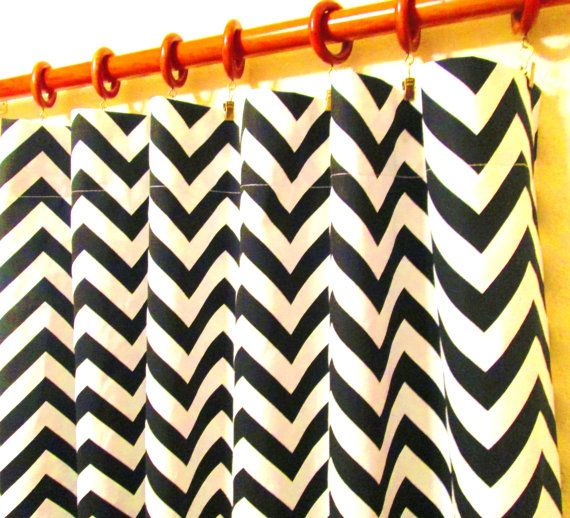 Pair Of 50 X 84 Black And White Chevron Zig Zag Rod By