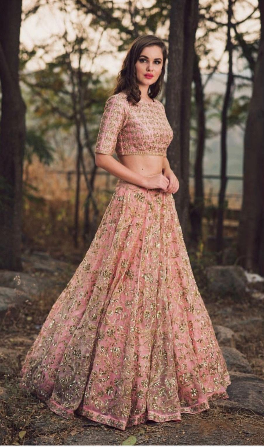 Pink and gold lengha | clothes | Indian designer wear ...