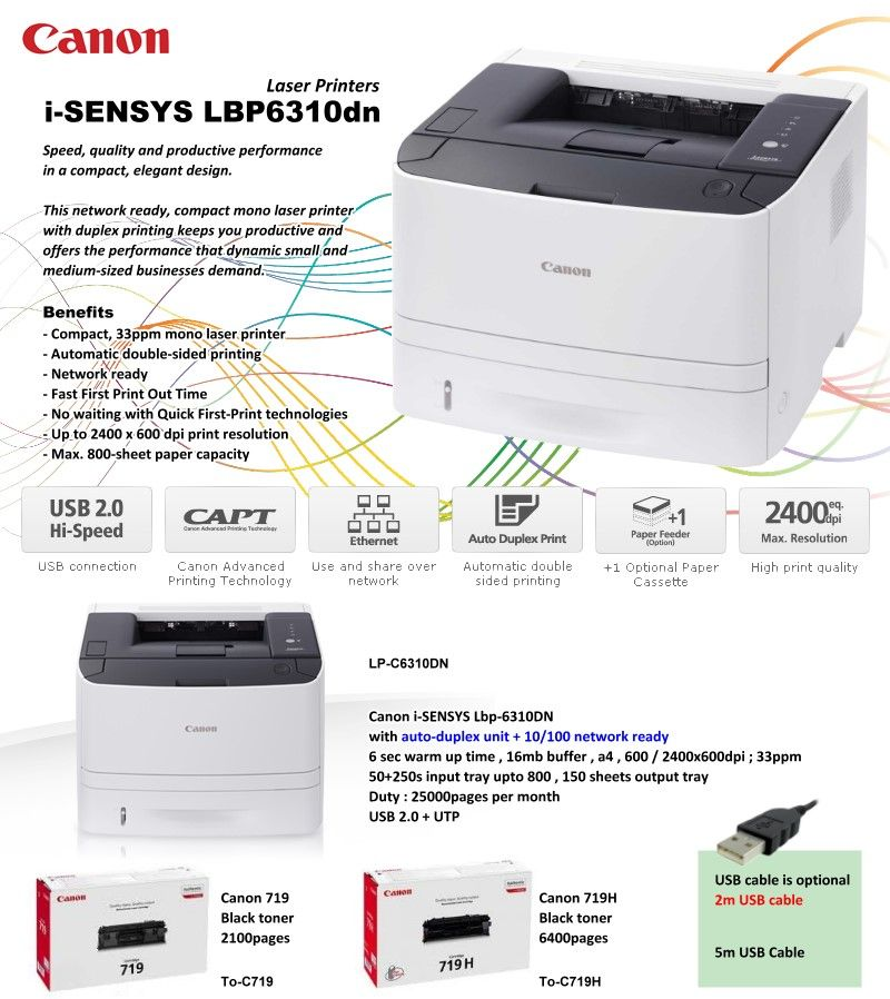 Canon I Sensys Lbp6310dn Laser Printer Laser Printer Printing Double Sided Canon Laser Printer